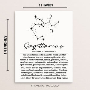 SAGITTARIUS Funny Zodiac Constellation Home Decor Wall Art Poster