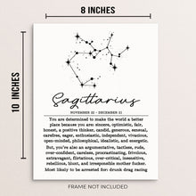 "SAGITTARIUS Zodiac Constellation Wall Art Poster - 8"" x 10"" UNFRAMED"