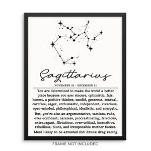 SAGITTARIUS Funny Zodiac Constellation Home Decor Wall Art Poster Print