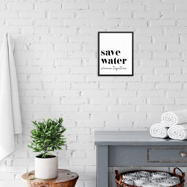 Save Water Shower Together Bathroom Wall Decor Art Print