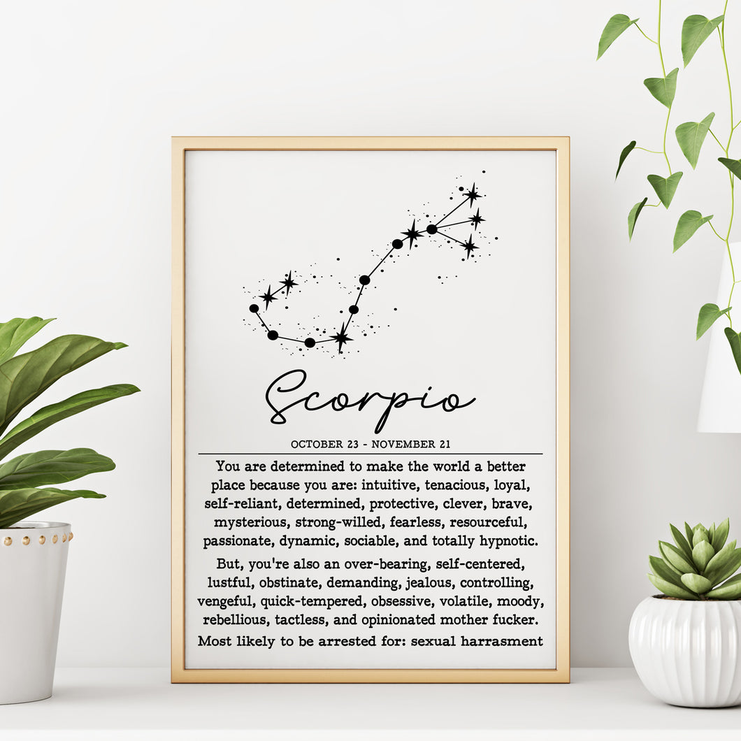 SCORPIO Zodiac Constellation Wall Art Print Poster - 8
