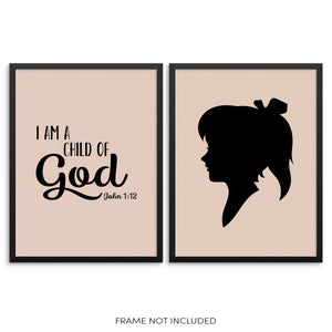 I Am a Child of God John 1:12 Psalm Girls Bedroom Art Print Set