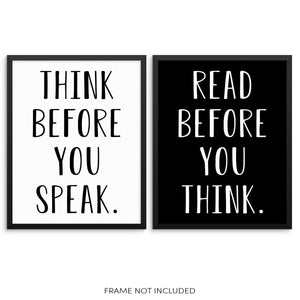Motivational Quote Art Print Set Think Before You Speak and Read Before You Think
