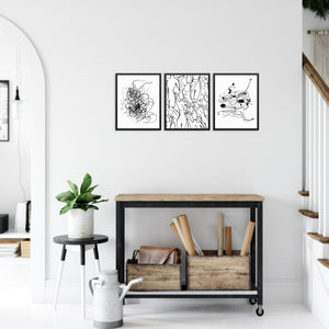 Abstract Black and White Wall Decor Modern Art Print Poster Set