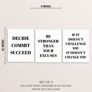 Motivational Gym Quotes Art Print Set Fitness Wall Posters
