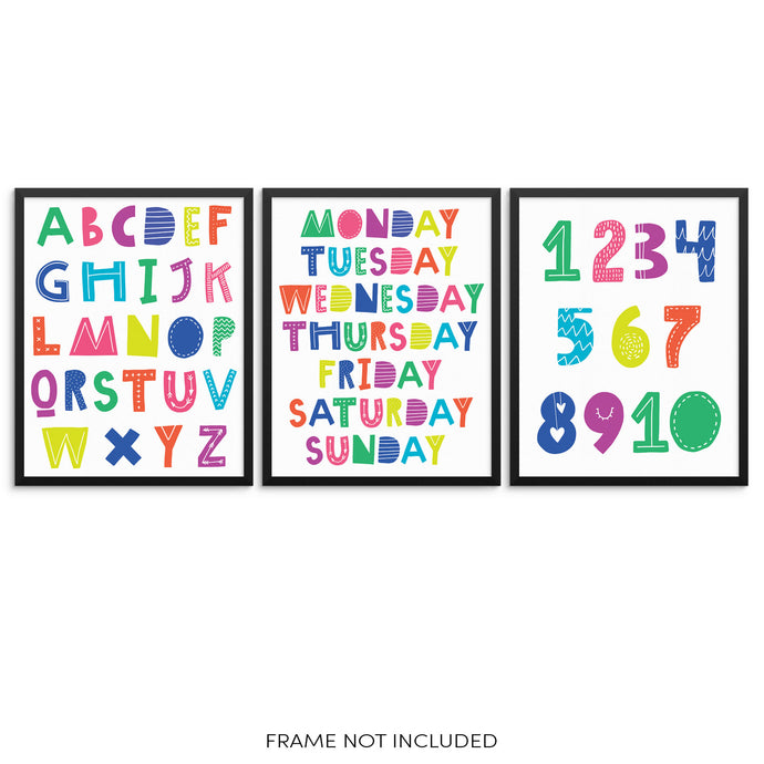 Kids Colorful ABCs Numbers and Days of Week Educational Art Prints Set