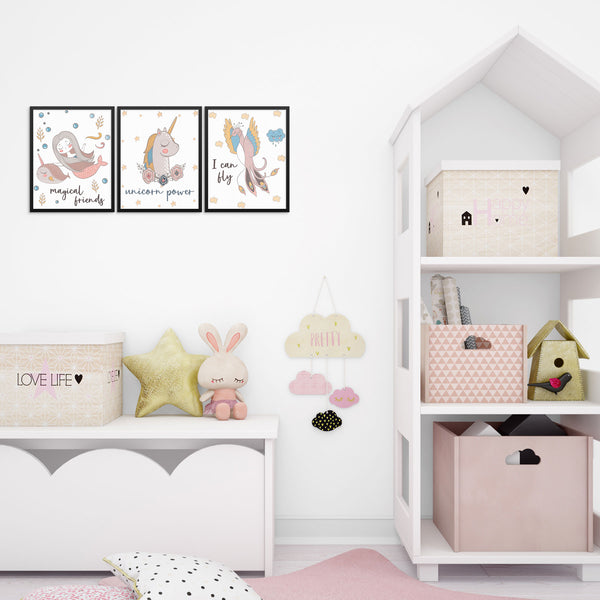 Girls Bedroom Art Prints Set Unicorn Mermaid and Bird Wall Posters