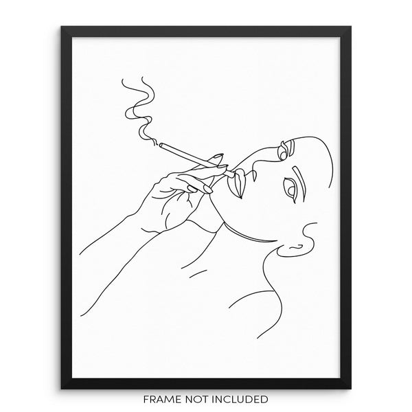 Woman Smoking Abstract One Line Wall Art Print