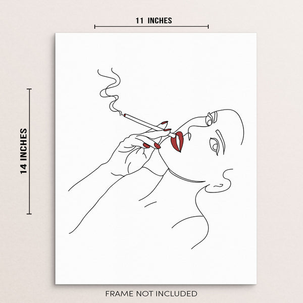 One Line Drawing Woman Smoking Abstract Wall Art Print