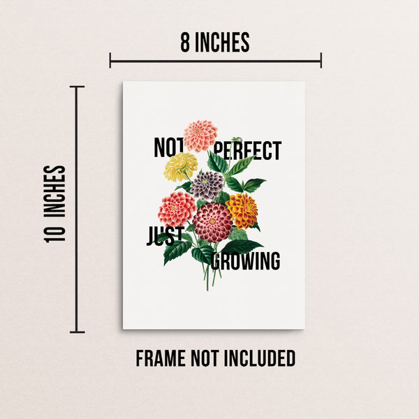 Not Perfect Just Growing Vintage Flower Wall Decor Art Print