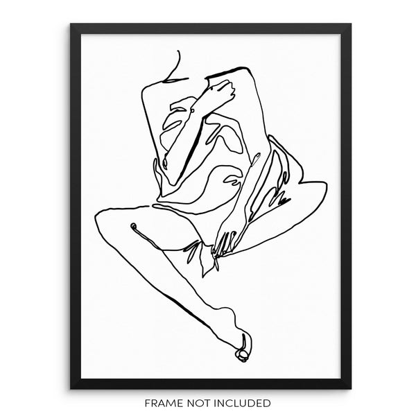Minimalist One Line Nude Woman's Drawing Art Print by Sincerely, Not