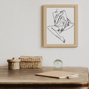 Minimalist One Line Drawing Art Print Nude Woman's Body Shape Poster