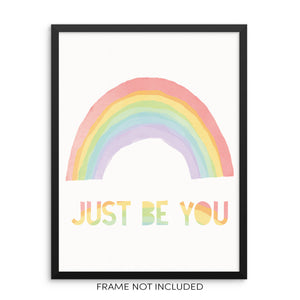 Kids Bedroom Colorful Rainbow Art Print Just Be You by Sincerely Not