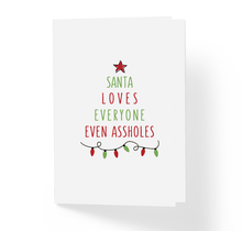 Naughty Rude Christmas Holiday Card Santa Loves Everyone Even Assholes by Sincerely, Not Greeting Cards