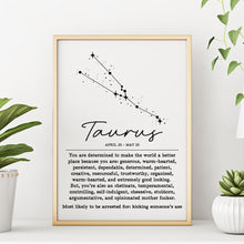 TAURUS Funny Zodiac Constellation Home Decor Wall Art Print Poster