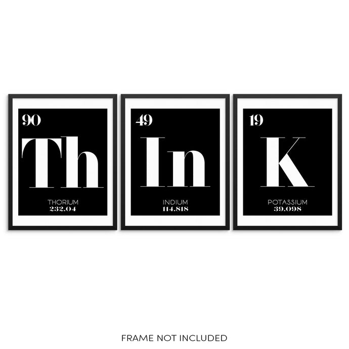 THINK Periodic Table of Elements Words Art Print Set by Sincerely, Not