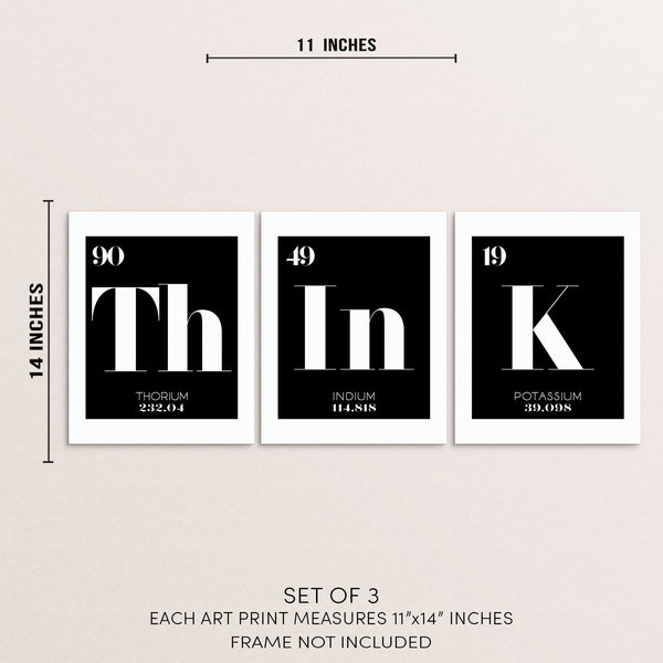 THINK Periodic Table of Elements Words Art Print Set