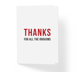 Thanks For All The Orgasms Adult Love Witty Greeting Card by Sincerely, Not
