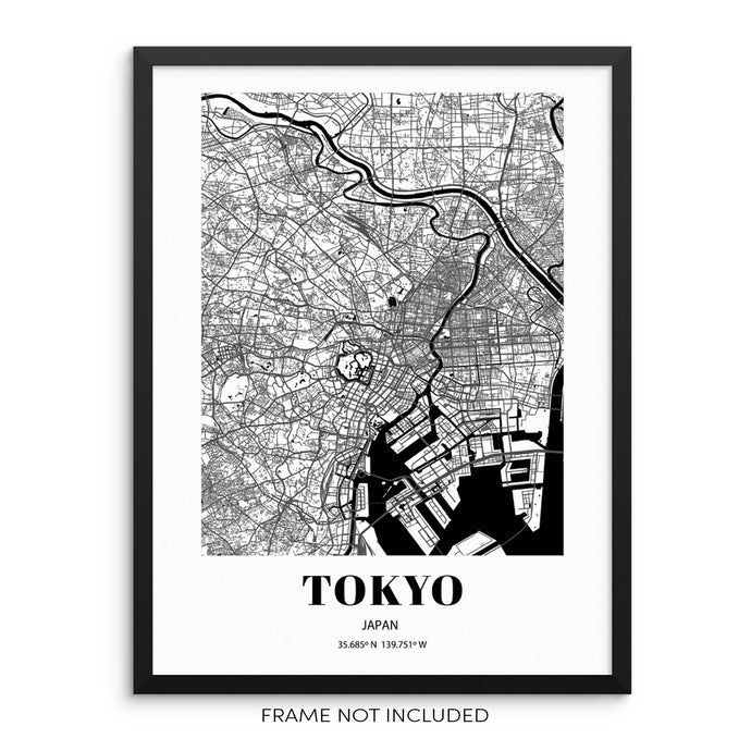 Tokyo City Grid Map Art Print Cityscape Road Map Wall Poster