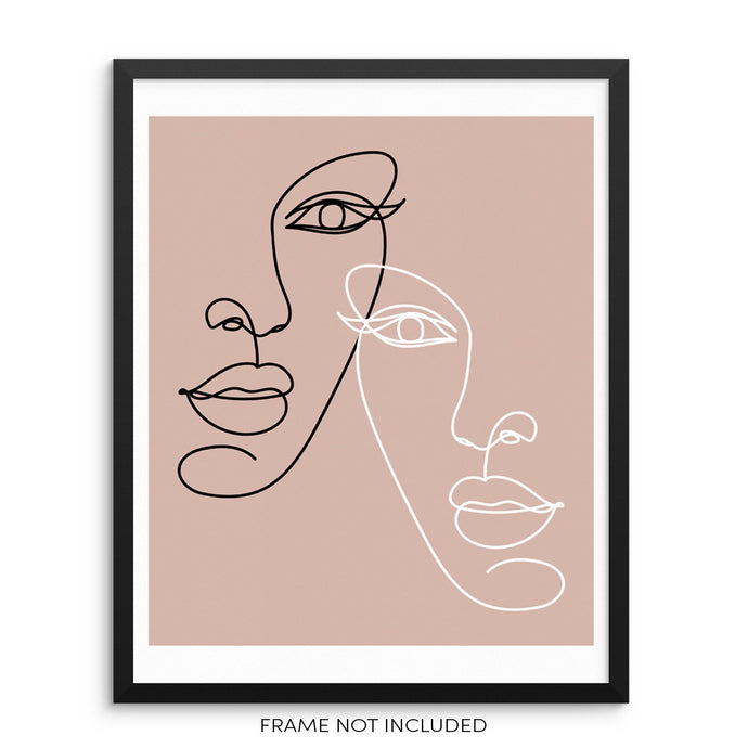 Minimalist One Line Drawing Art Print Poster Abstract Women's Faces