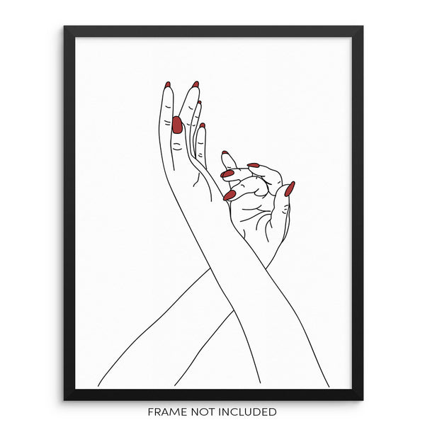 Abstract Woman's Hands One Line Drawing Minimalist Wall Art Print