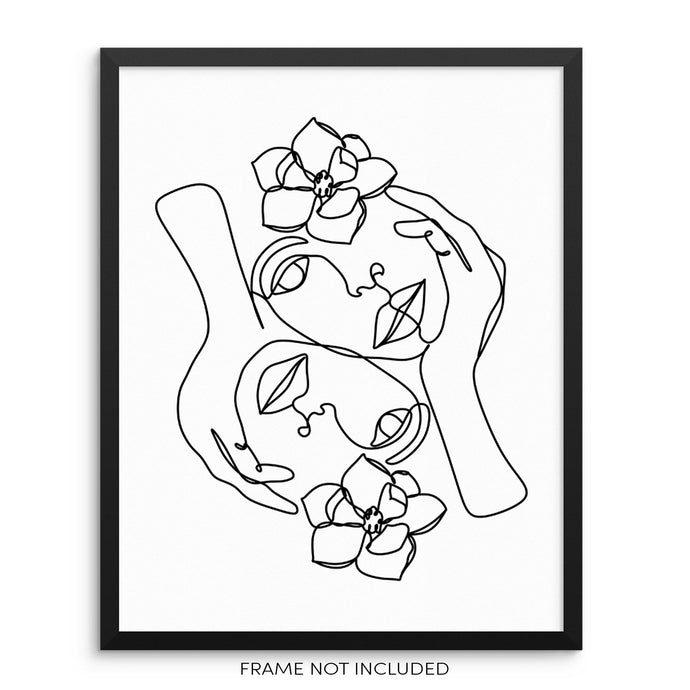 Faces With Flowers Art Print Minimalist One Line Drawing Poster