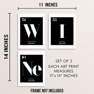WINE Periodic Table of Elements Art Prints Set Chemistry Wall Posters