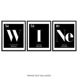 WINE Periodic Table of Elements Art Prints Set Chemistry Wall Posters by Sincerely, Not