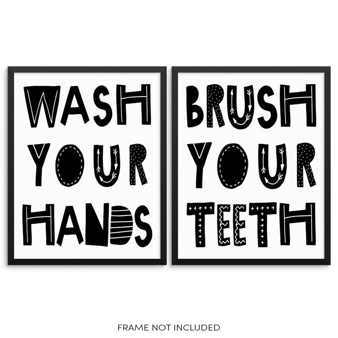 Kids Bathroom Decor Art Print Set Brush Your Teeth Wash Your Hands