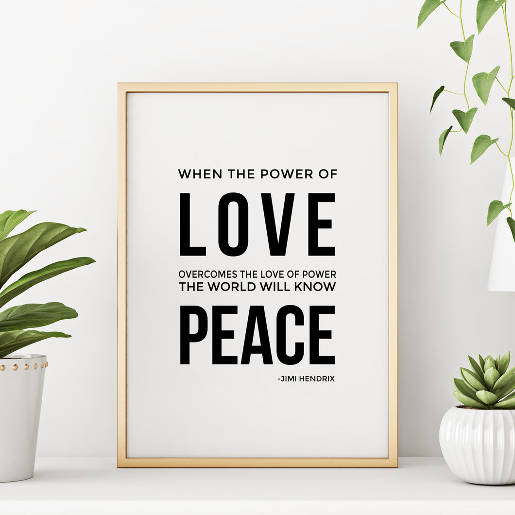 Jimi Hendrix Inspirational Power of Love Quote Wall Art Print Poster