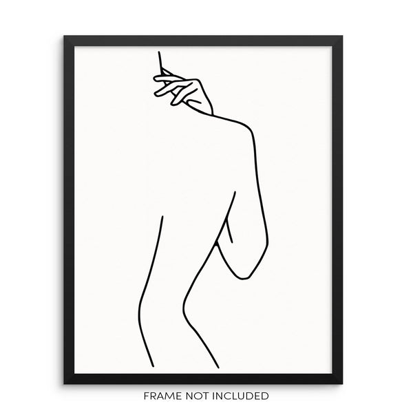 Line Drawing Woman's Body Shape Figure Art Print Poster