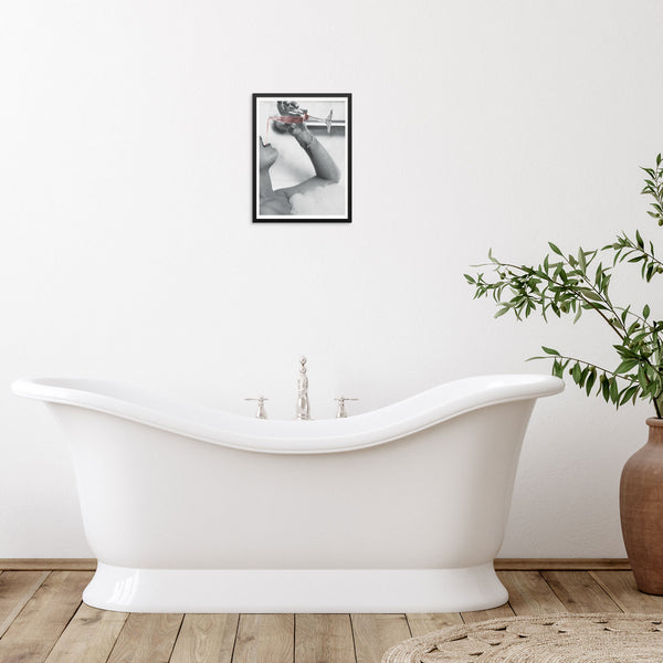 Woman Drinking Rosé Champagne in Bubble Bath Wall Decor Art Print