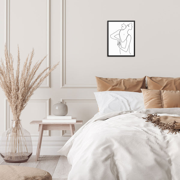 Minimalist Line Drawing Woman Abstract Art Print