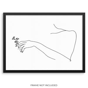 Minimalist One Line Drawing of a Woman Holding Flowers Art Print