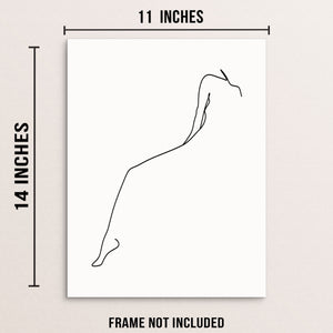 Minimalist One Line Drawing Woman's Body Shape Art Print Poster