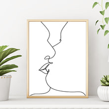 Couple Kissing One Line Modern Abstract Wall Decor Art Print Poster by Sincerely, Not