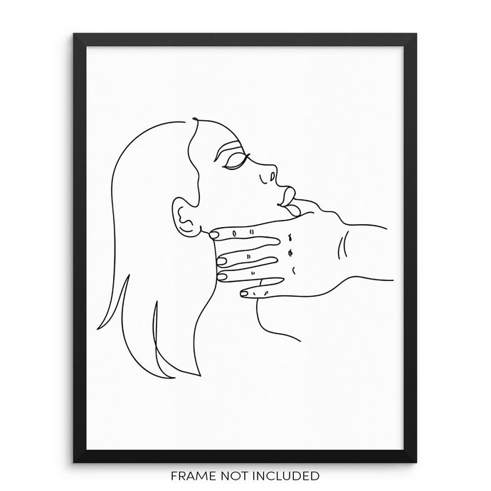 Minimalist Line Drawing Art Print Poster Abstract Face