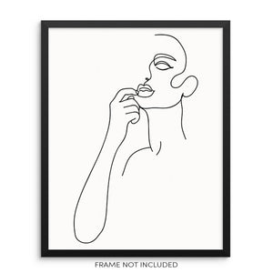 Modern Abstract Woman's Face Wall Decor Art Print Poster