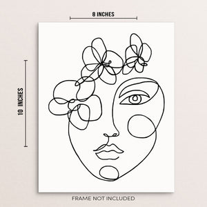 Modern Black and White Abstract of Woman's Face With Flowers Wall Decor One Line Art Print Poster by Sincerely, Not Greeting Cards, Wall Art Prints and Gifts