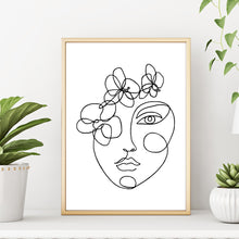 Abstract Line Drawing Woman's Face with Flowers Minimalist Art Print