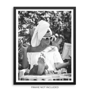 Woman Sunbathing and Reading a Book Fashion Art Print Wall Poster