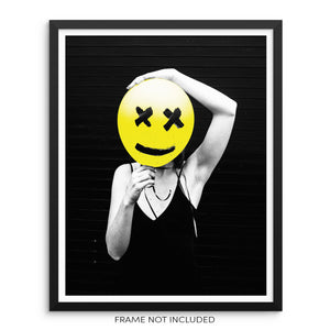 Woman With Yellow Happy Face Balloon Fashion Art Print Wall Poster