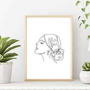 Modern Abstract One Line Woman's Face Portrait Wall Decor Art Print Poster by Sincerely, Not