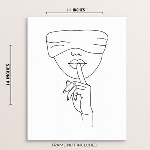 One Line Drawing Art Print Poster Abstract Woman's Face