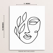Abstract Woman's One Line Face Home Decor Wall Art Poster Print