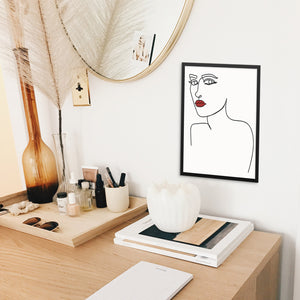One Line Drawing Woman's Face with Red Lipstick Abstract Art Print