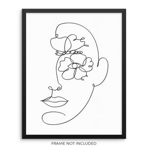 Abstract Face One Line Drawing Art Print Poster
