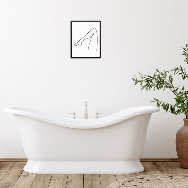 One Line Drawing Art Print Woman's Leg Poster