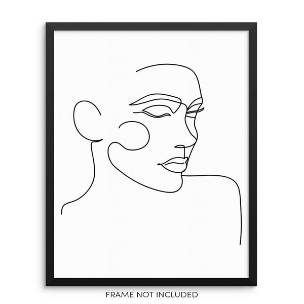 Abstract Face Modern One Line Wall Decor Art Print