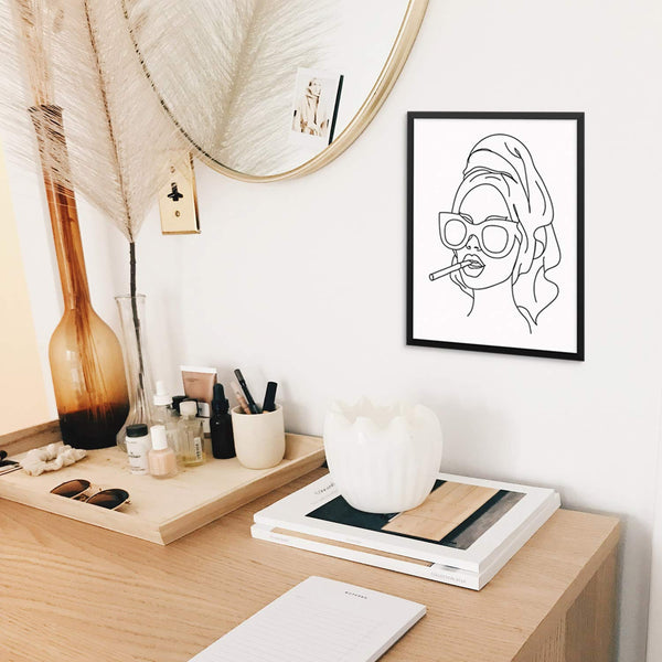 Abstract Woman Line Drawing Art Print Smoking Girl with Towel Poster